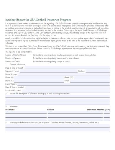 insurance program incident report
