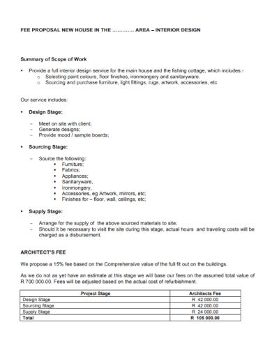 interior design scope of work fee proposal