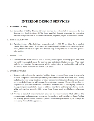 interior design services scope of work