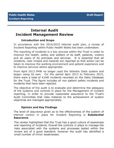 internal audit incident management report
