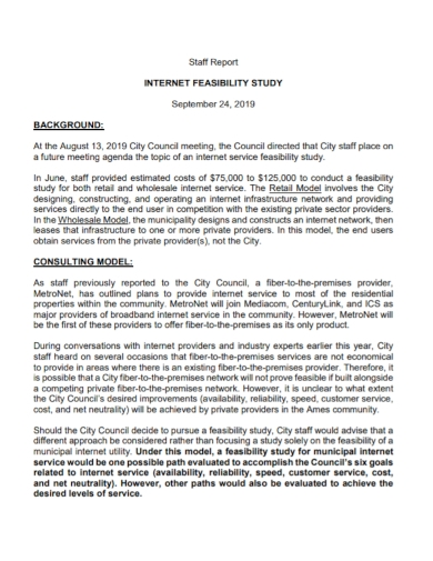 internet network feasibility staff report