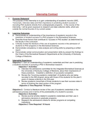 internship contract statement of purpose