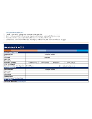 job activity handover note