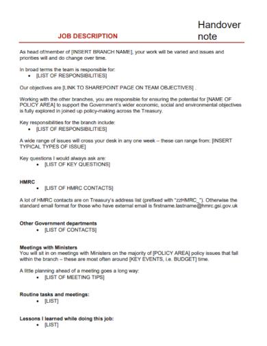 job description handover note