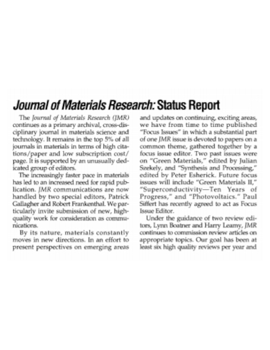 journal research status report