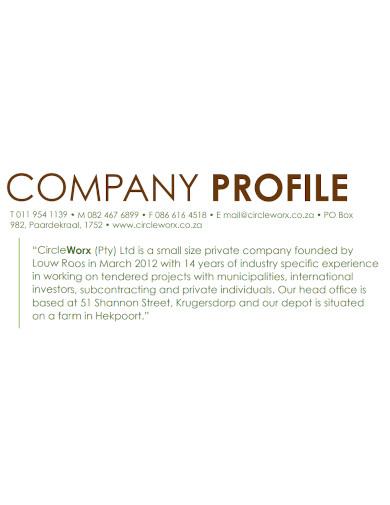 landscape company profile sample