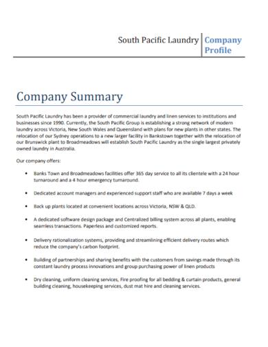 laundry company profile