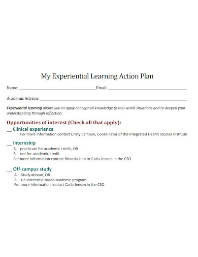 learning action plan sample