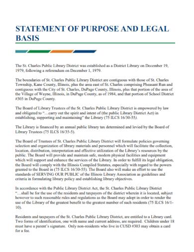 legal basis statement of purpose