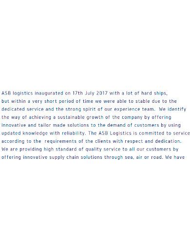 logistics company profile format