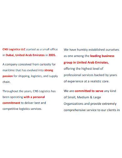 logistics small company profile