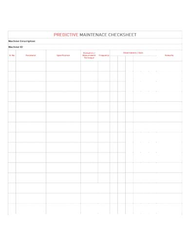 machine predictive maintenance checklist