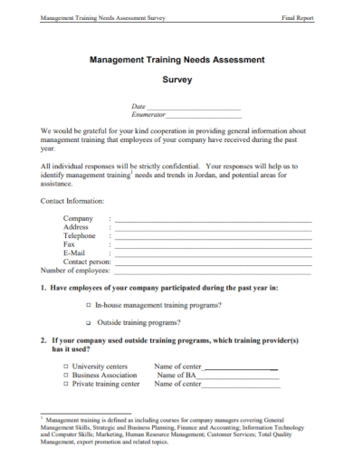 management training needs assessment report