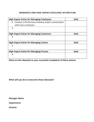 manager one page service action plan
