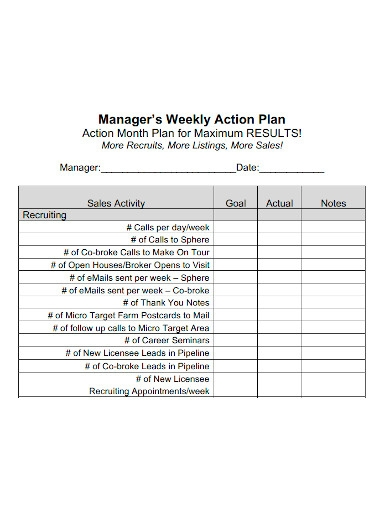 managers weekly action plan