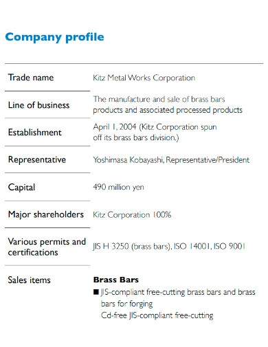 manufacturing company profile format