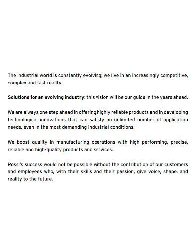 manufacturing company profile sample