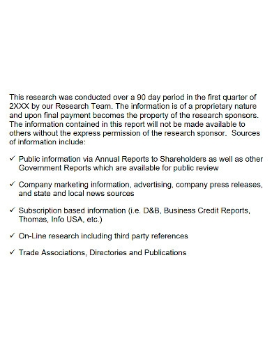 market research analysis report sample
