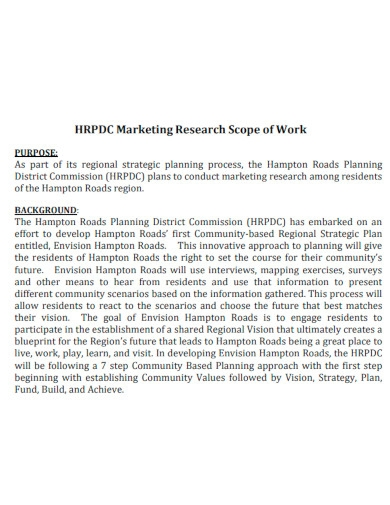 marketing research scope of work