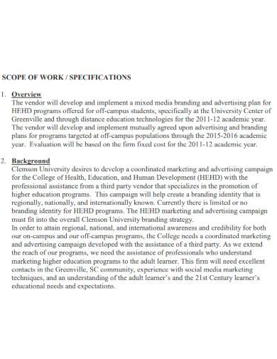 marketing scope of work format