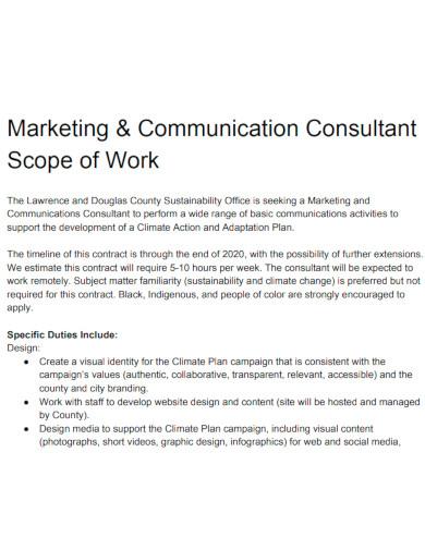marketing scope of work sample