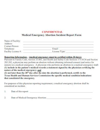 medical emergency incident report