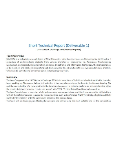 medical short technical report