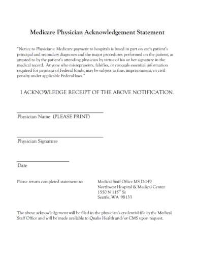 medicare physician acknowledgement statement