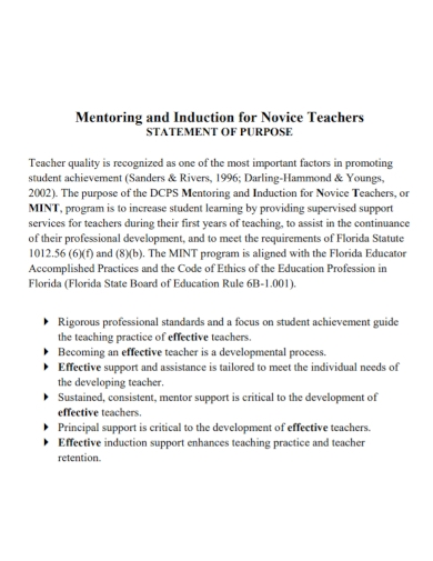 mentoring teacher statement of purpose
