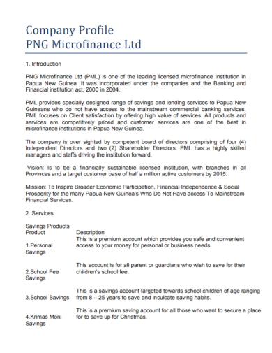 microfinance company profile