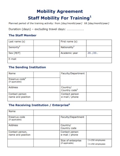 mobility agreement for staff training