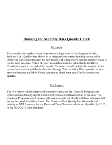 monthly data quality report