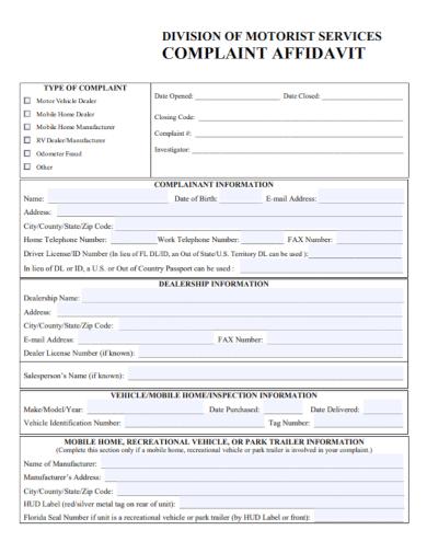 motorist services affidavit of complaint