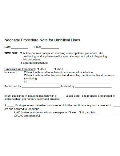 neonatal procedure note