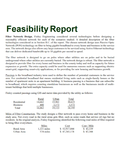 network design feasibility report