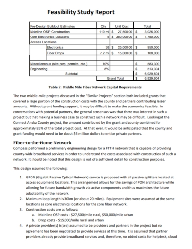 network feasibility study report