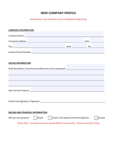new finance company profile