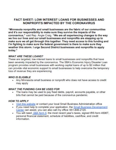 non profit business fact sheet