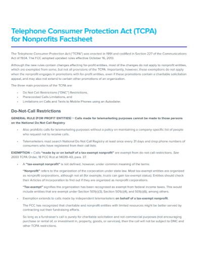 non profit consumer fact sheet