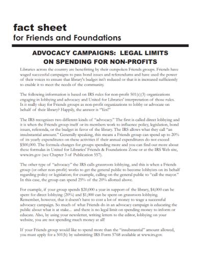non profit foundation fact sheet
