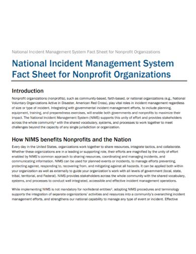 non profit management fact sheet