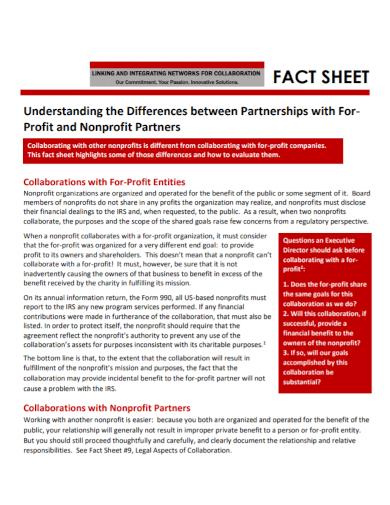 non profit partnership fact sheet