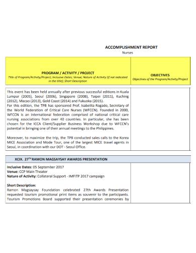 nurses project accomplishment report