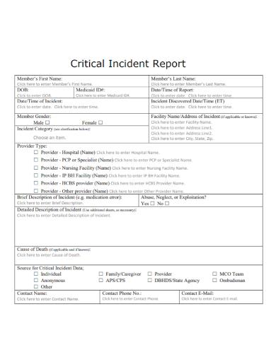 nursing facility critical incident report