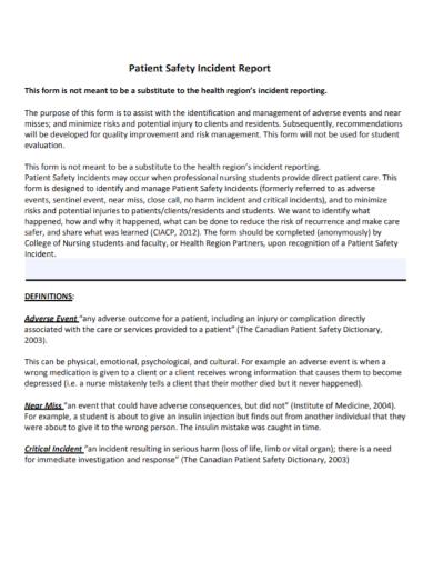 nursing patient safety incident report