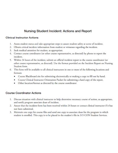 nursing student incident action report