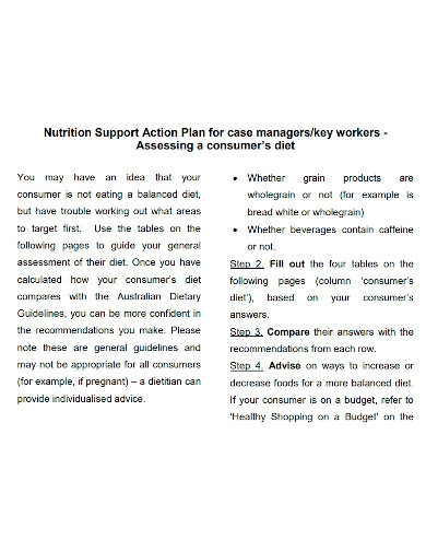 nutrition support action plan