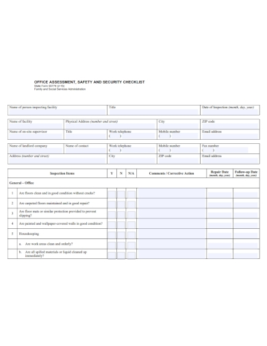office assessment safety security checklist