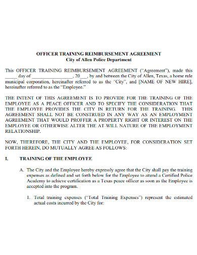 officer training reimbursement agreement