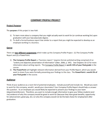 one page project company profile